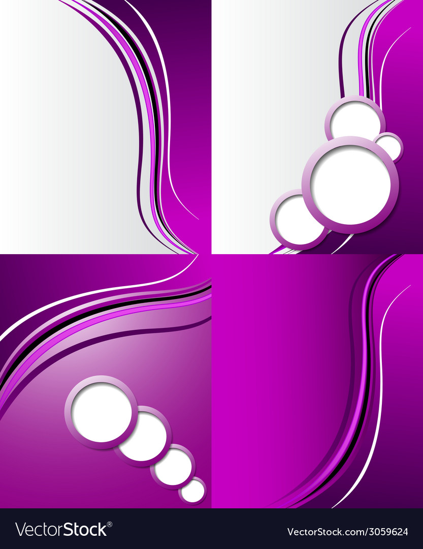 Set of abstract purple wavy background design vector | Price: 1 Credit (USD $1)