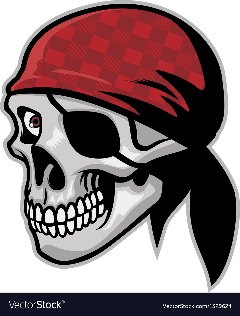 Skull of pirate wearing a bandana vector | Price: 3 Credit (USD $3)