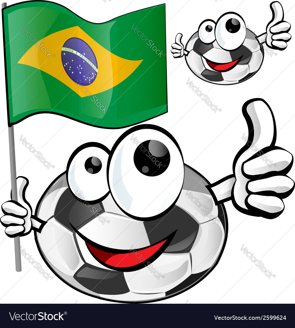 Soccer ball cartoon with brazilian flag vector | Price: 1 Credit (USD $1)