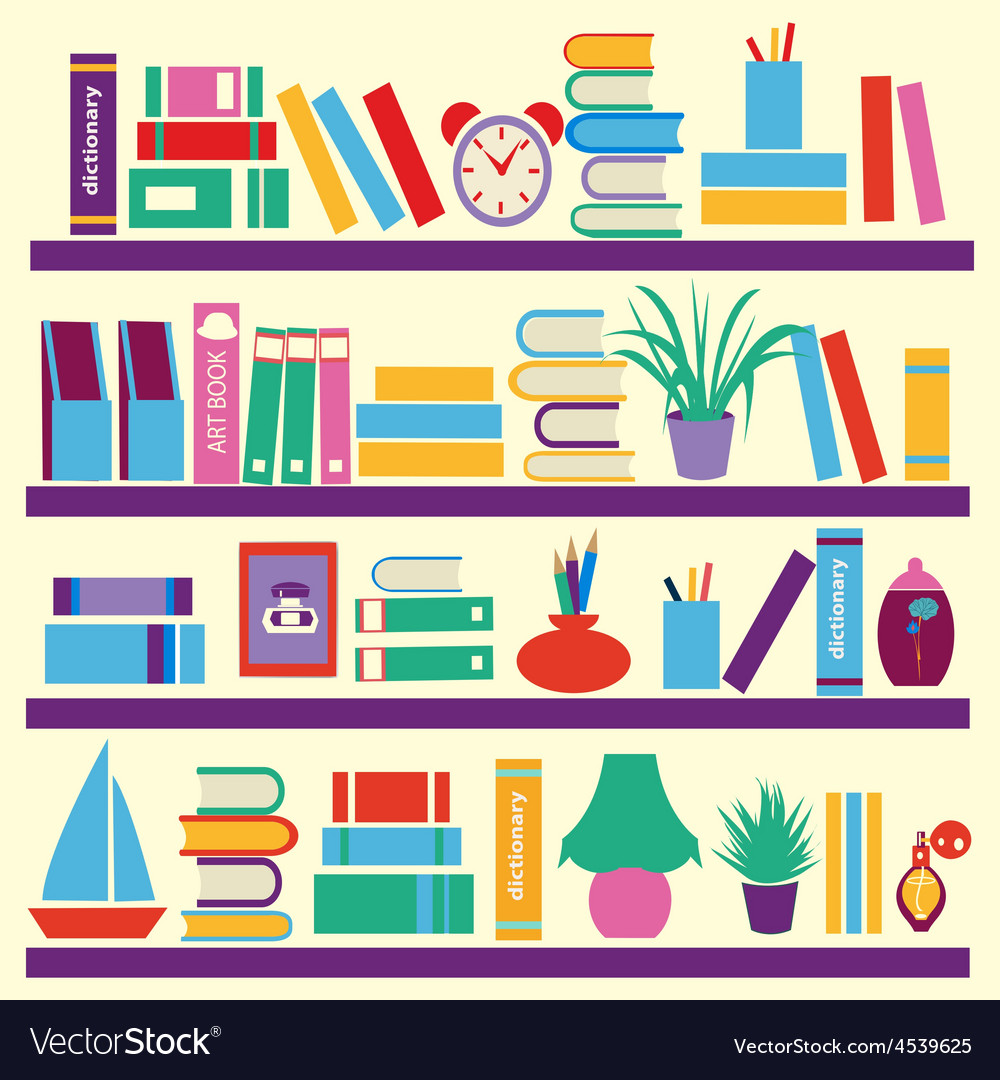 Background of books on the bookshelves vector | Price: 1 Credit (USD $1)
