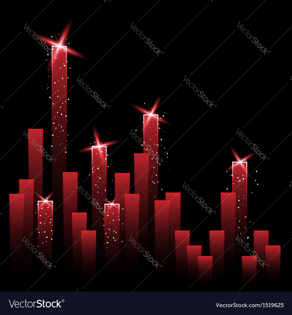 Chart with shining stars vector | Price: 1 Credit (USD $1)