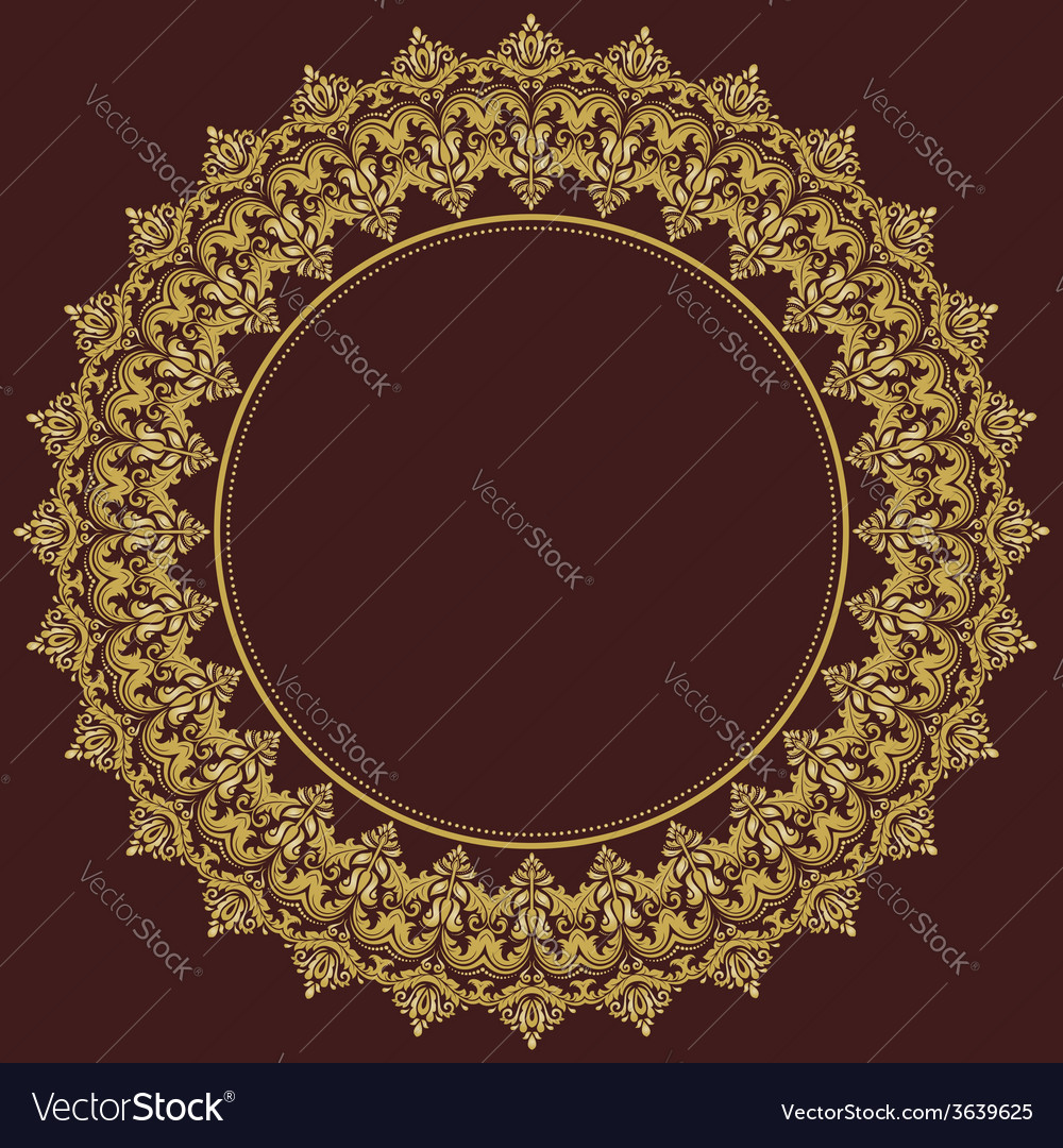 Damask round pattern orient golden ornament vector | Price: 1 Credit (USD $1)
