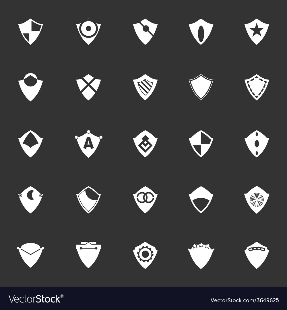 Design shield icons on gray background vector | Price: 1 Credit (USD $1)