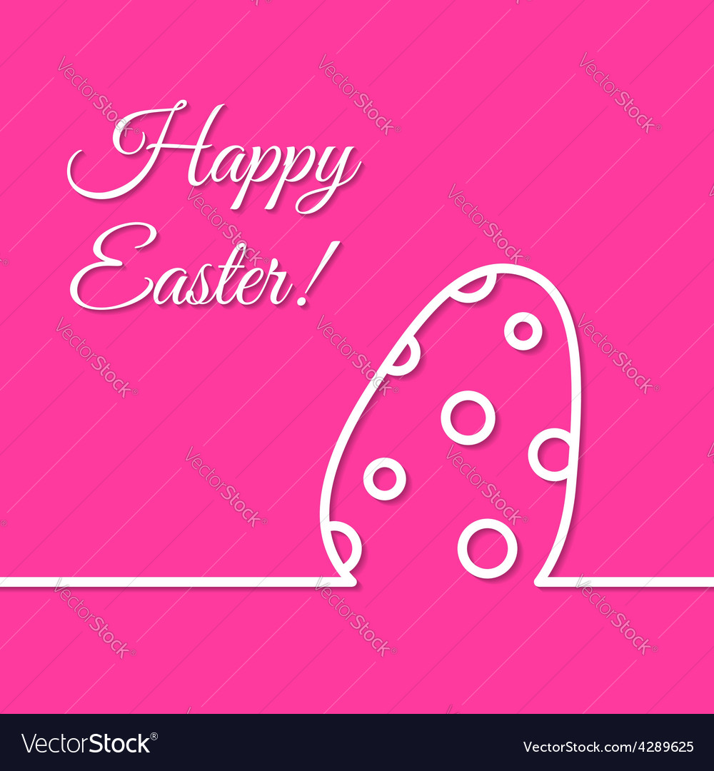 Dotted easter egg simple line holiday poster vector | Price: 1 Credit (USD $1)