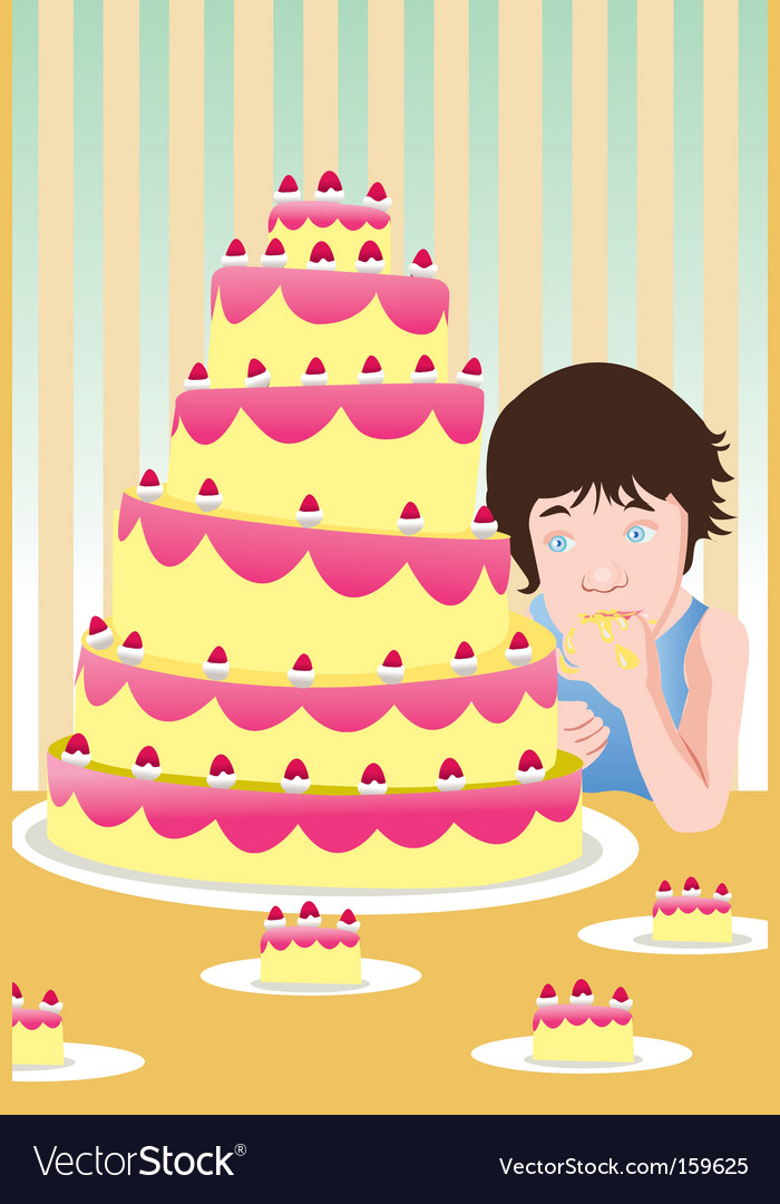 Eating cake vector | Price: 1 Credit (USD $1)