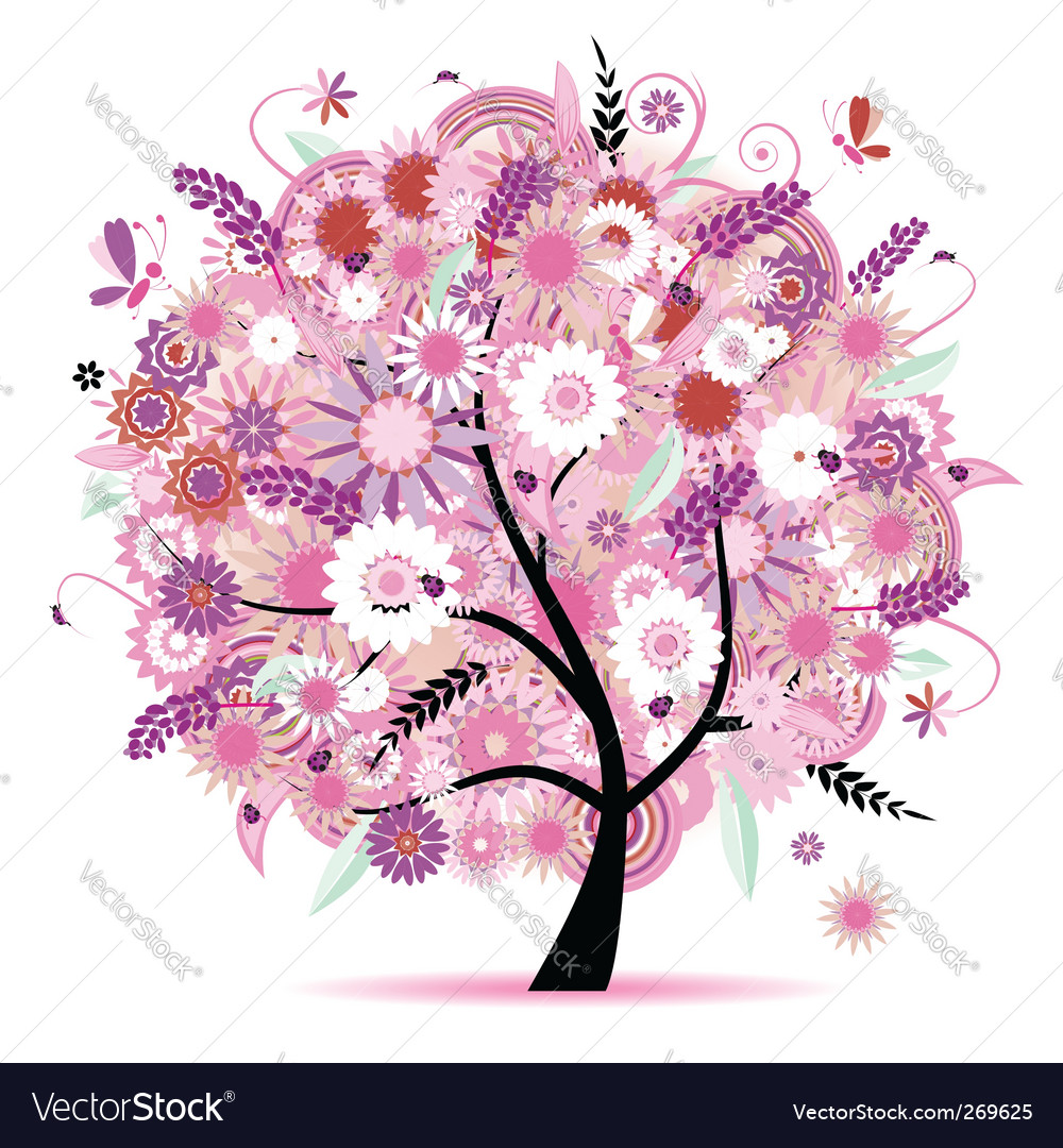 Floral tree vector | Price: 1 Credit (USD $1)