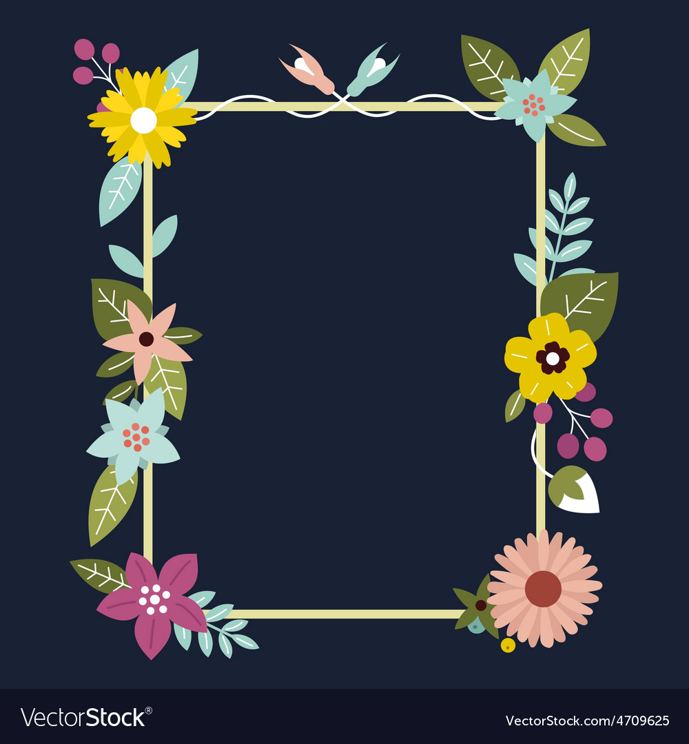 Frame with flowers can be used as creating card vector | Price: 1 Credit (USD $1)