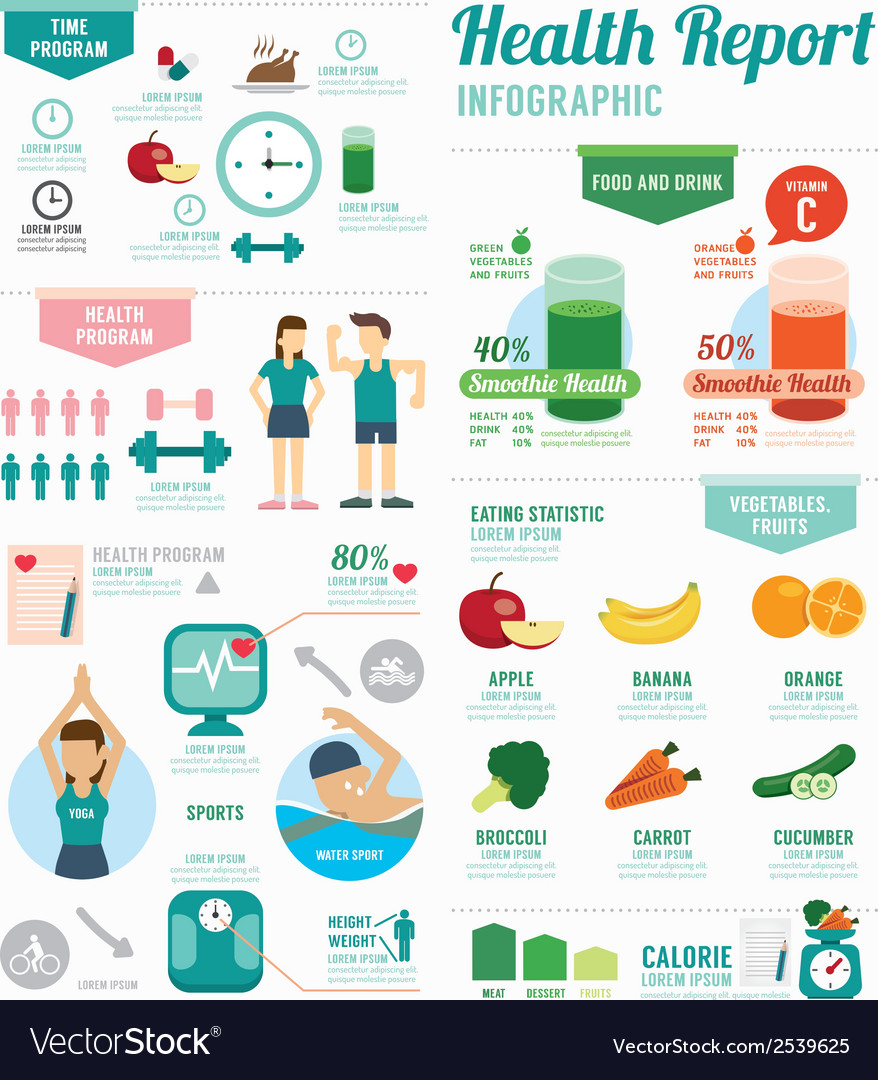 Infographic health sport and wellness template vector | Price: 3 Credit (USD $3)