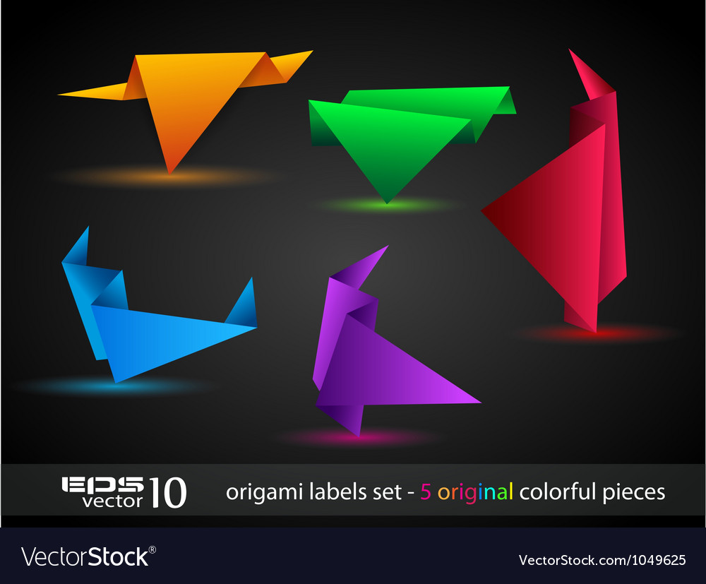 Origami triangle style speech banner vector | Price: 1 Credit (USD $1)