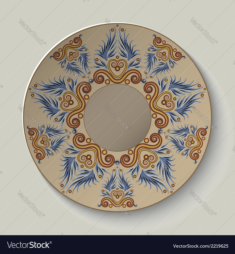 Plate with an ornament in the ancient greek style vector | Price: 1 Credit (USD $1)