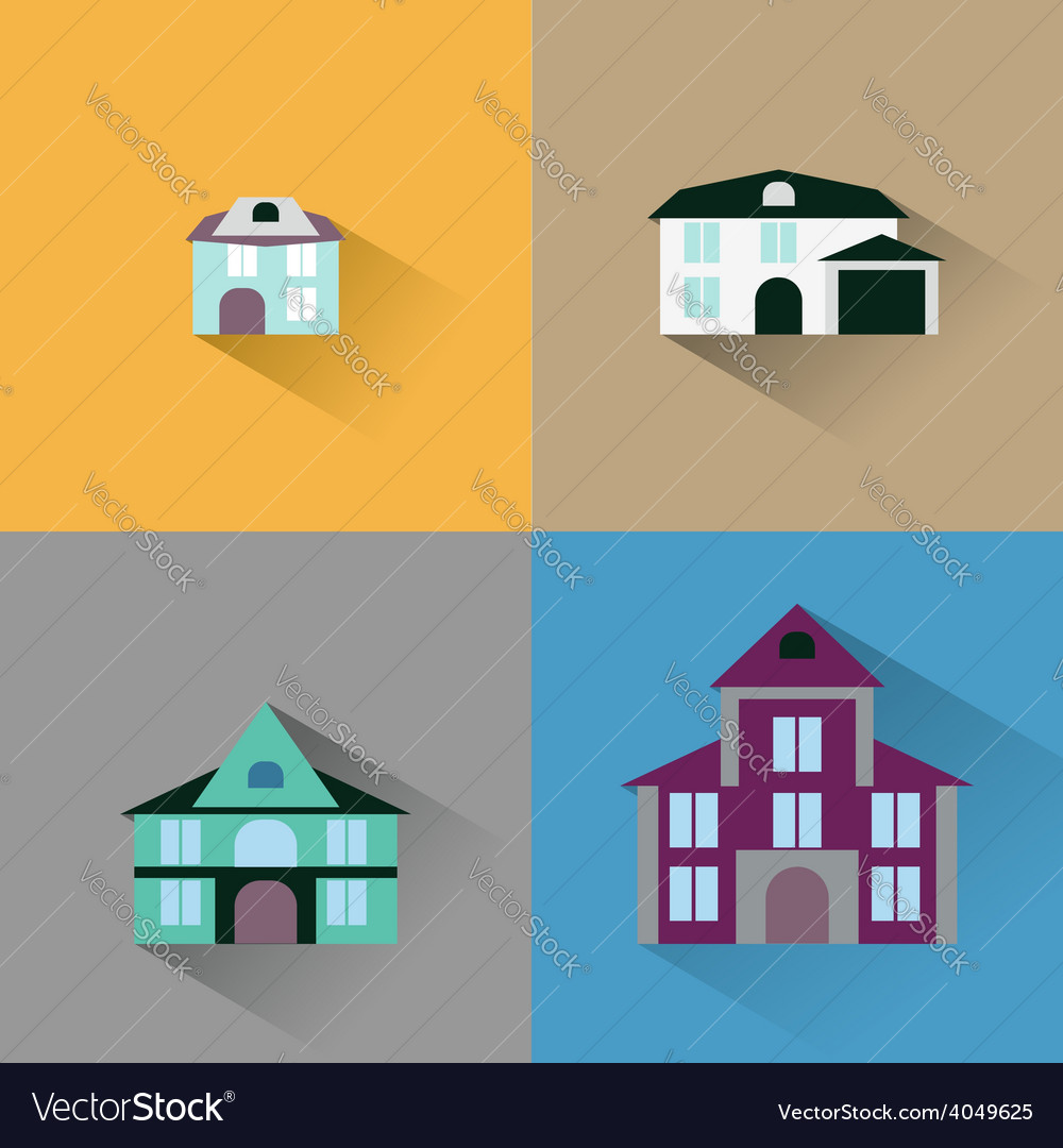 Set house buildings icon vector | Price: 1 Credit (USD $1)