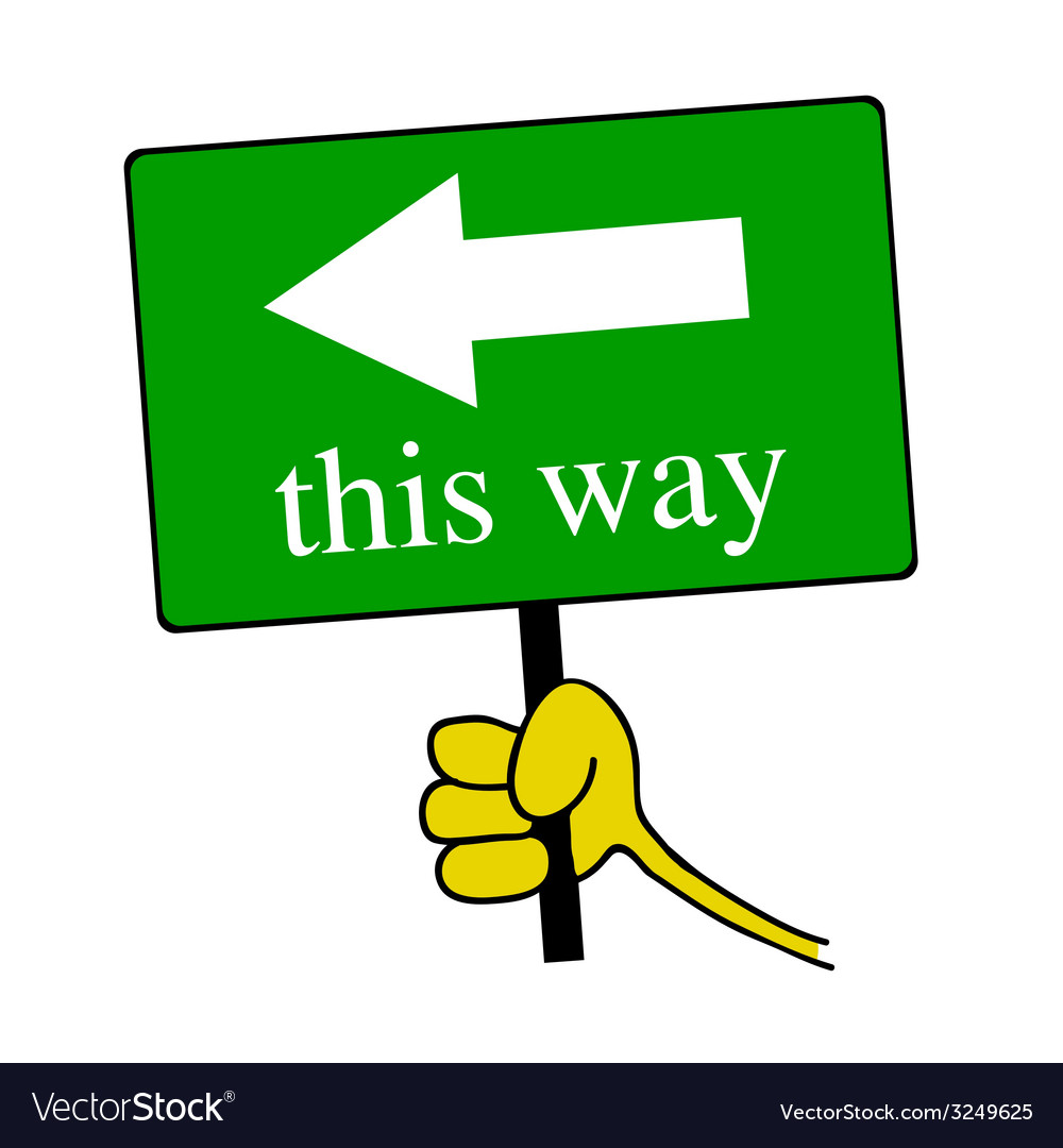 This way signboard with hand color vector | Price: 1 Credit (USD $1)