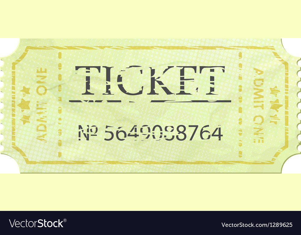 Ticket admit one vintage one eps 8 vector | Price: 1 Credit (USD $1)