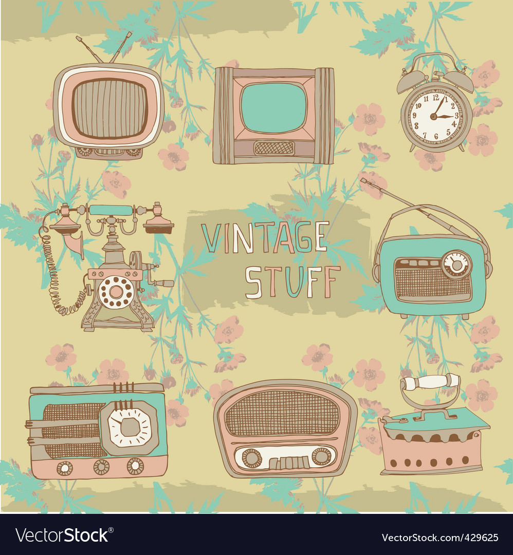 Vintage radios and tvs vector | Price: 1 Credit (USD $1)
