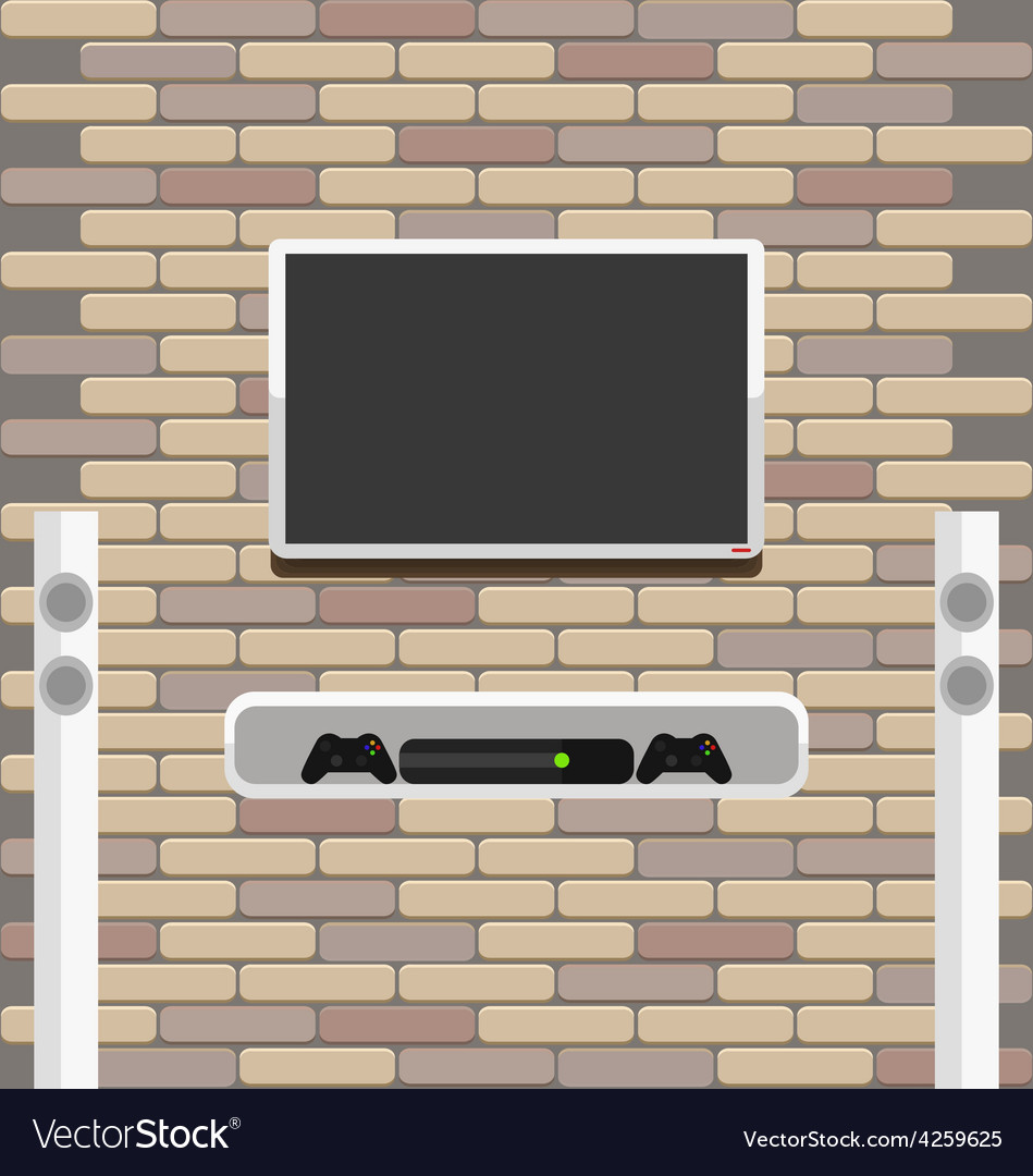 Wall brick with tv and game console hanging on it vector | Price: 1 Credit (USD $1)