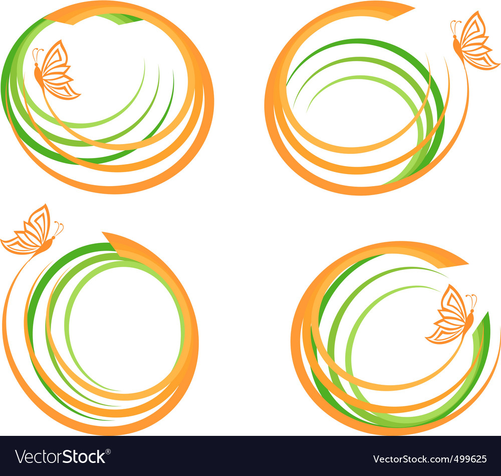 Waves with butterfly logo vector | Price: 1 Credit (USD $1)