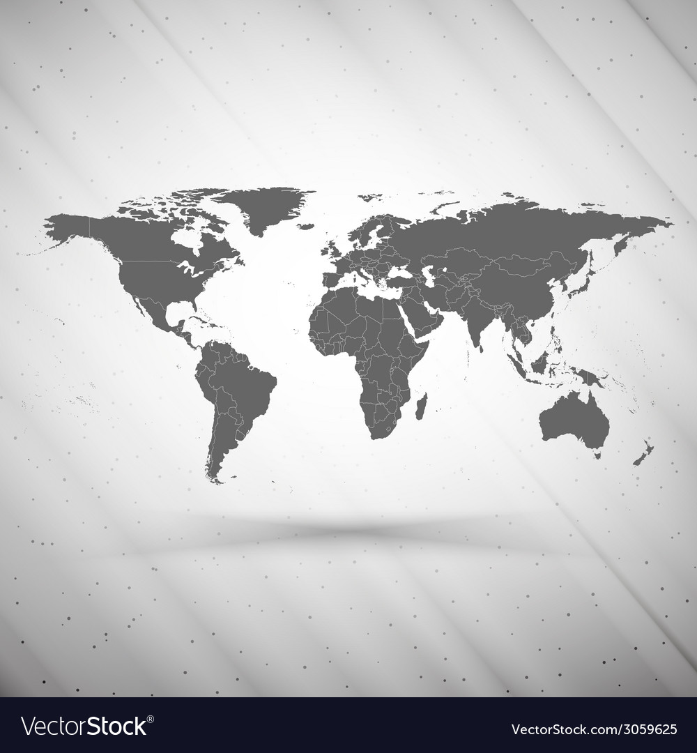 World map on gray background grunge texture vector | Price: 1 Credit (USD $1)