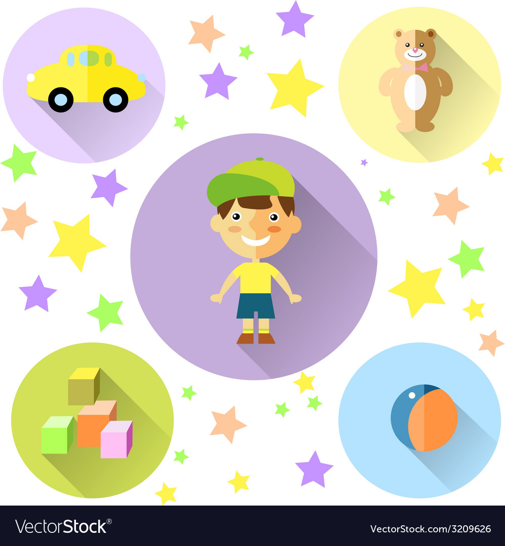 A set of cute toys icons for little boy vector | Price: 1 Credit (USD $1)
