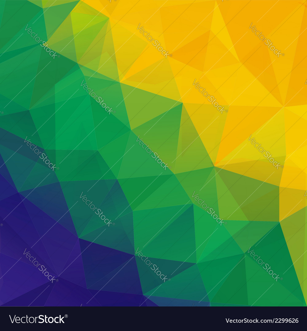 Abstract polygon background brazil flag colors vector | Price: 1 Credit (USD $1)