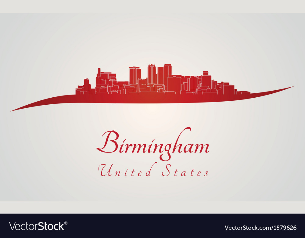 Birmingham al skyline in red vector | Price: 1 Credit (USD $1)