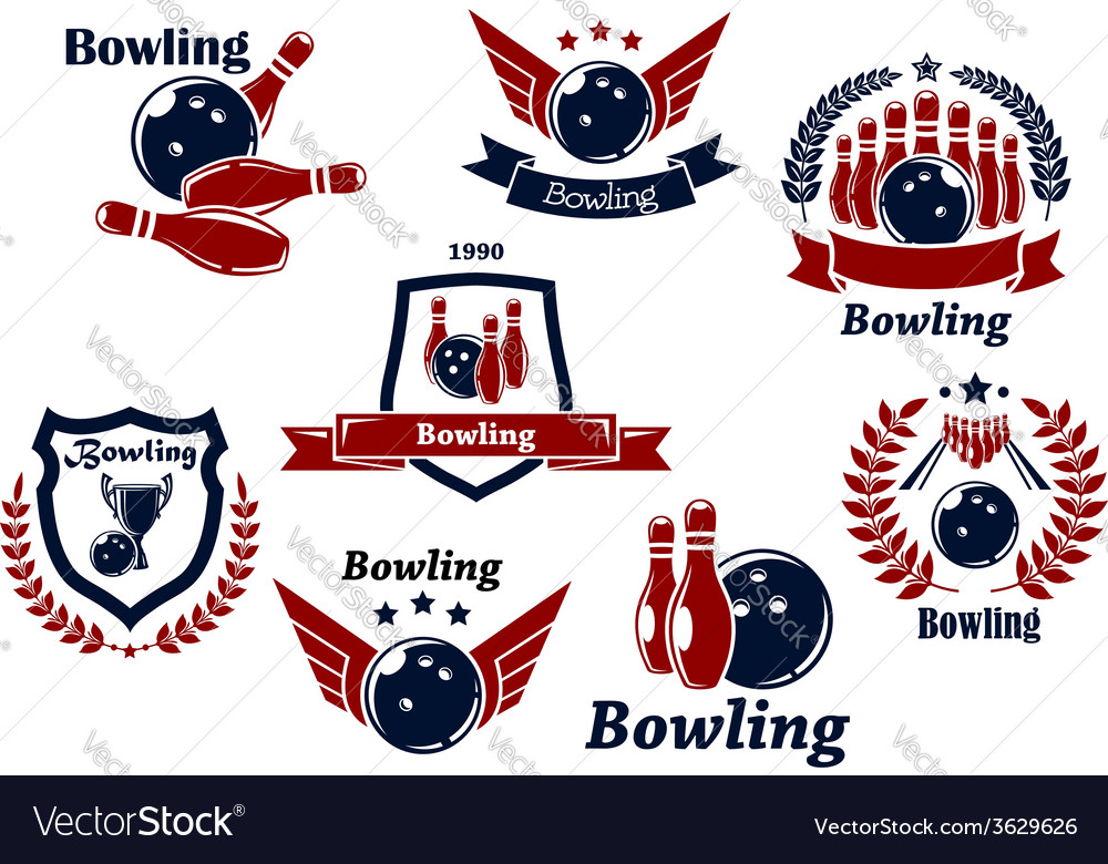 Bowling sports emblems and symbols vector | Price: 1 Credit (USD $1)