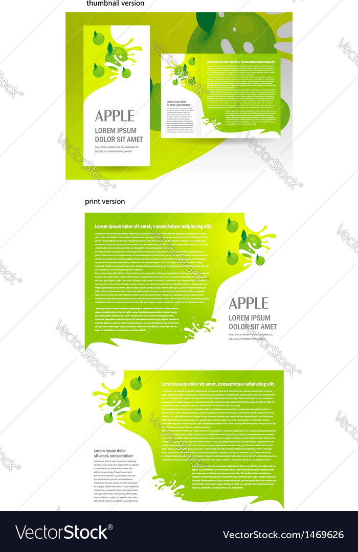 Brochure green apple splash vector | Price: 1 Credit (USD $1)
