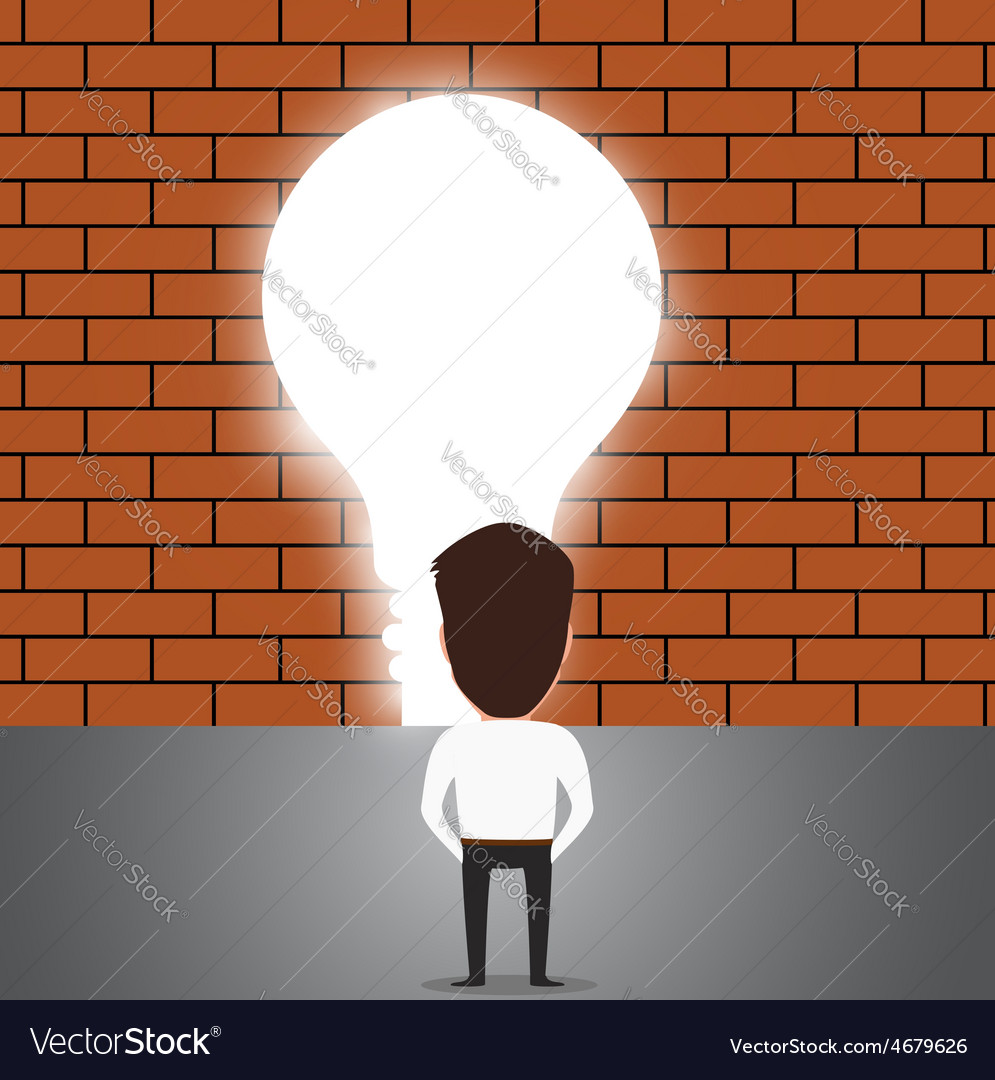 Businessman breaking trough a wall with idea vector   Price: 1 Credit (USD $1)