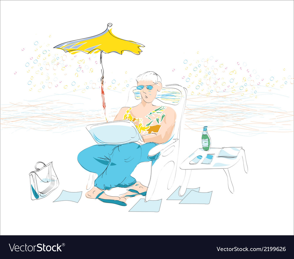 Businessman on vacation vector | Price: 1 Credit (USD $1)
