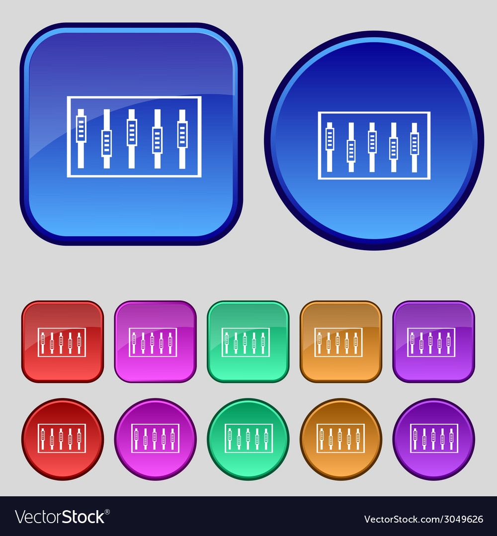 Dj console mix handles and buttons level icons set vector | Price: 1 Credit (USD $1)