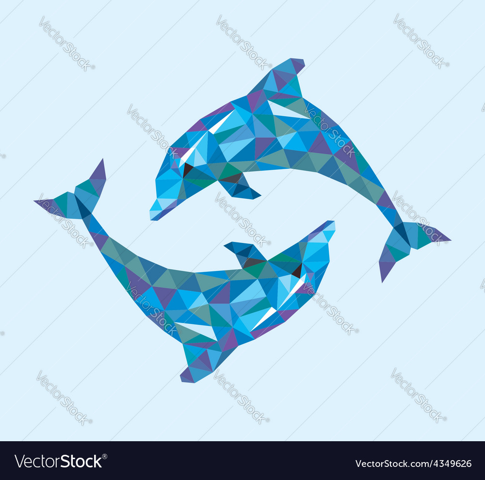 Dolphin low polygon vector | Price: 1 Credit (USD $1)