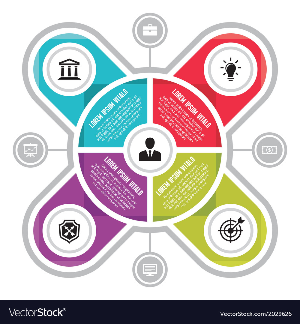 Infographic circle business concepts with icons vector | Price: 1 Credit (USD $1)