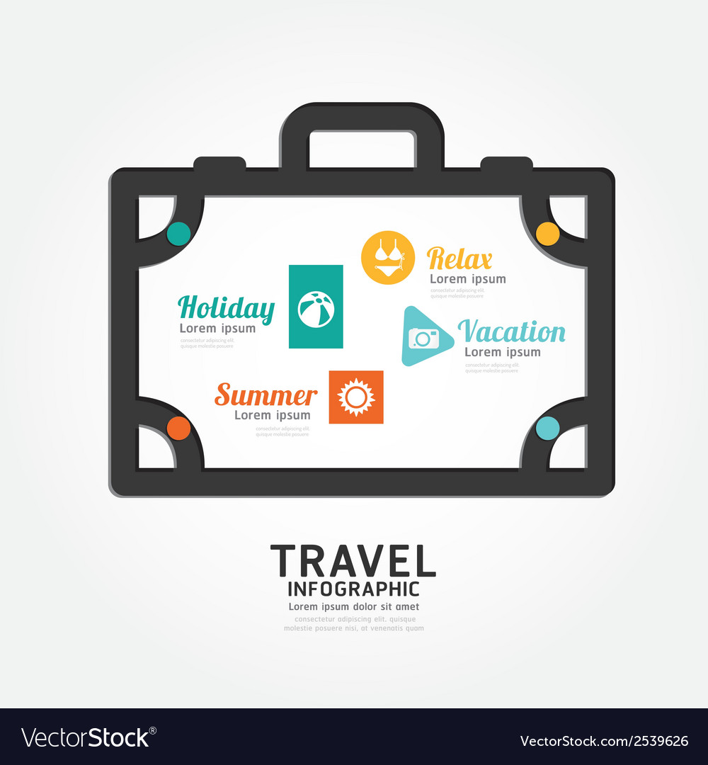 Infographics travel luggage design diagram line vector | Price: 1 Credit (USD $1)