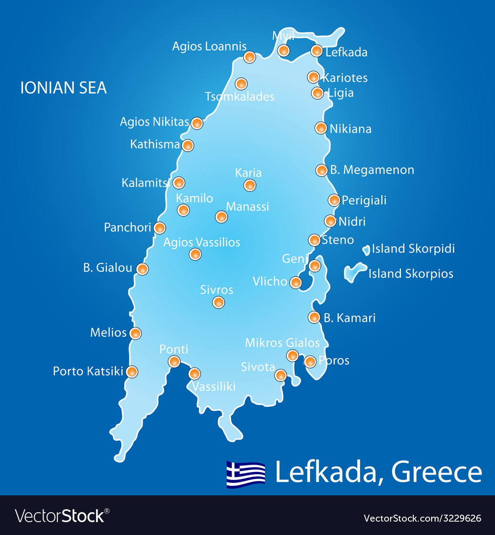 Island of lefkada in greece map vector | Price: 1 Credit (USD $1)