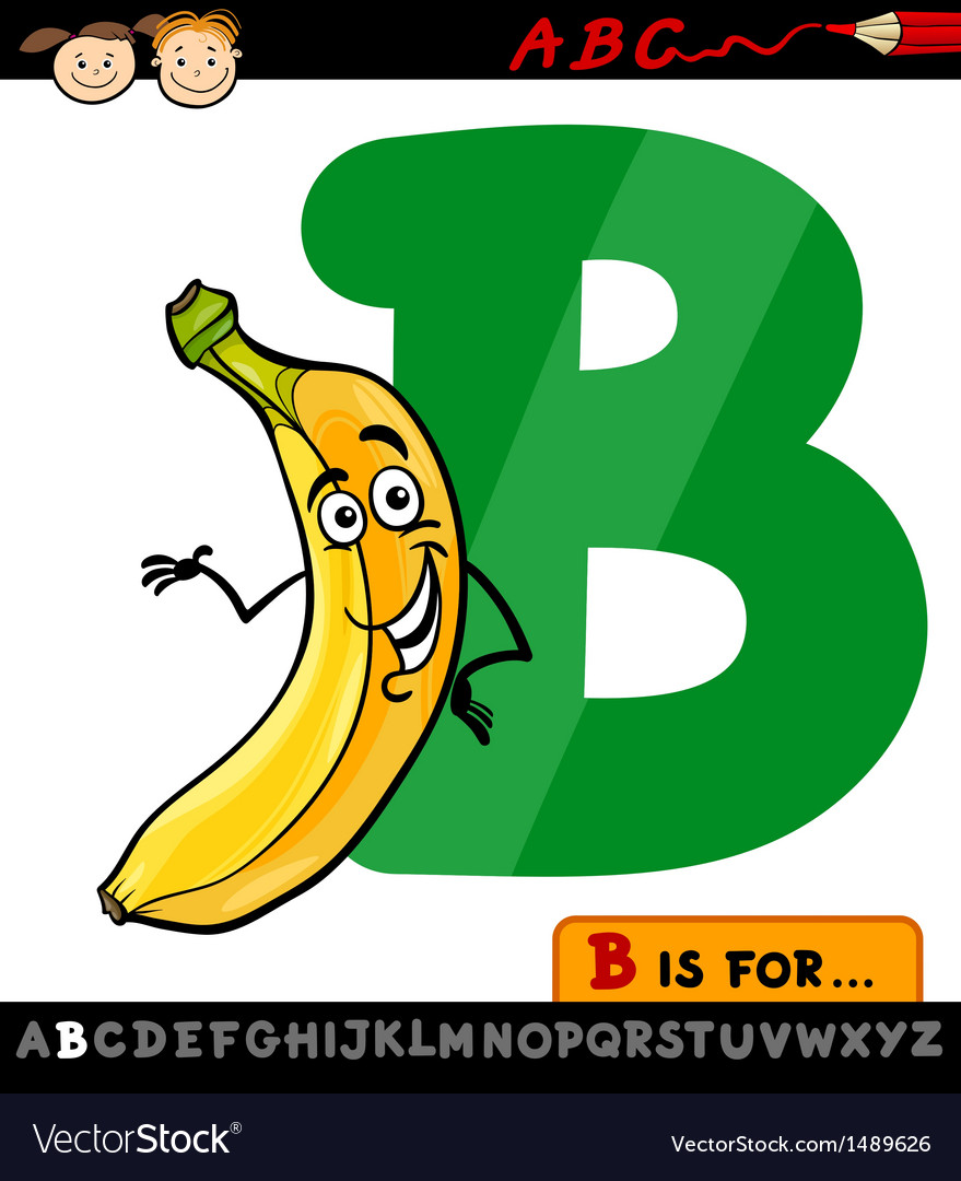 Letter b with banana cartoon vector | Price: 1 Credit (USD $1)