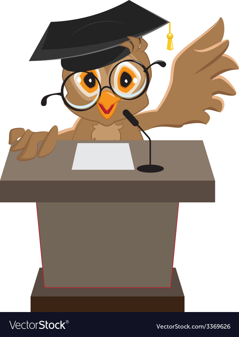 Owl speaker said on the podium vector | Price: 1 Credit (USD $1)