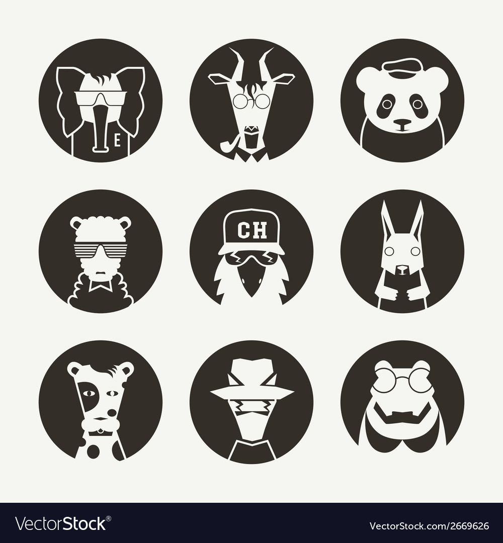 Set of stylized animal avatar for social network vector | Price: 1 Credit (USD $1)