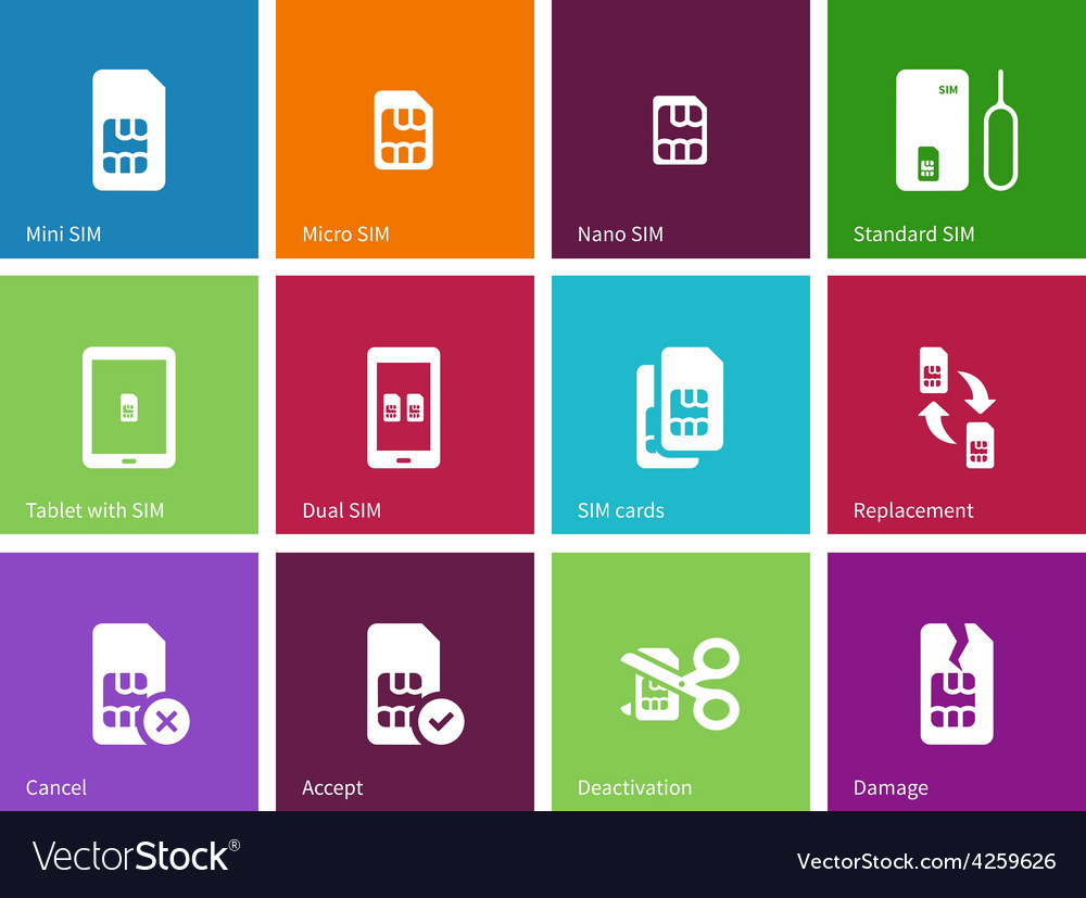 Standard and mini sim card icons on color vector | Price: 1 Credit (USD $1)