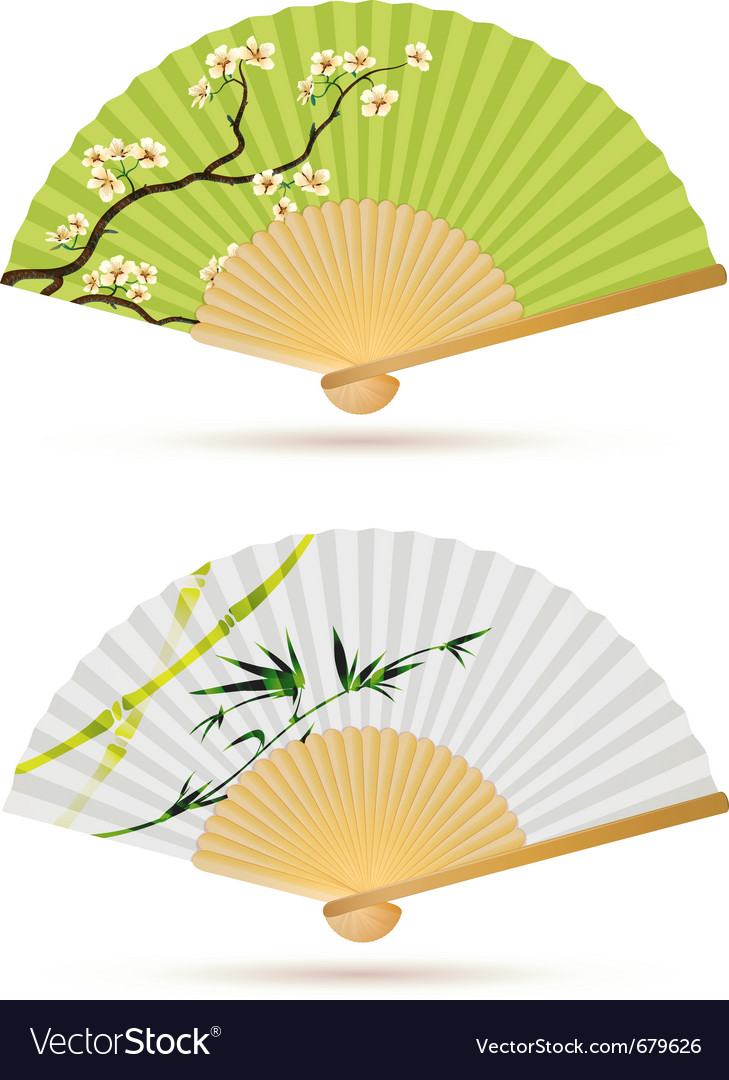Two japanese folding fans vector | Price: 1 Credit (USD $1)