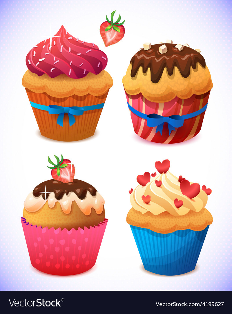 Cupcake pack chocolate and vanilla icing cupcakes vector | Price: 3 Credit (USD $3)
