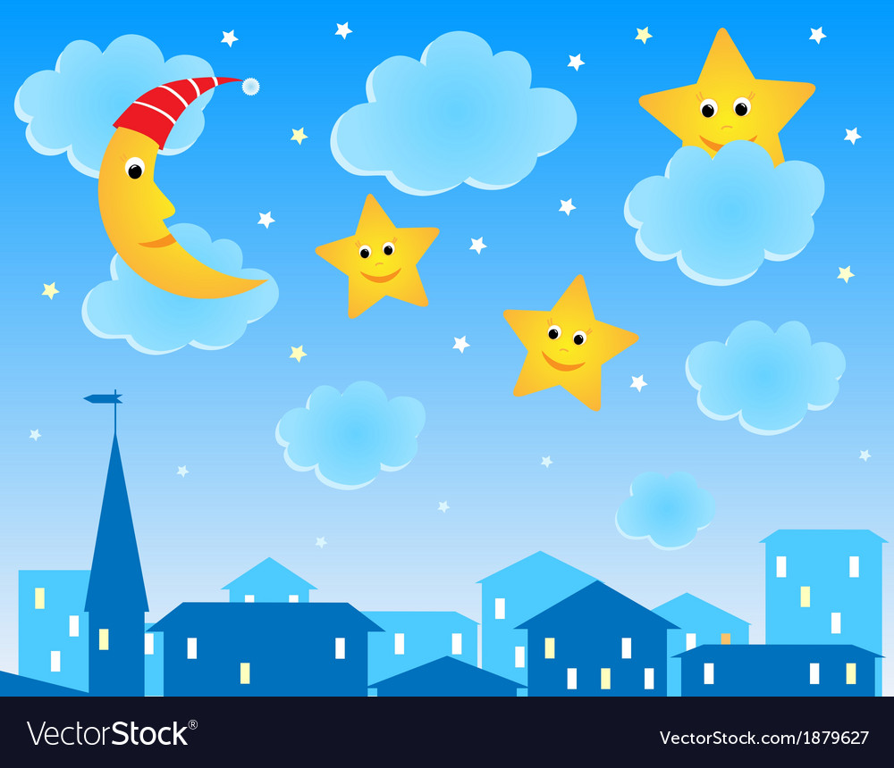 Cute of night roofs funny moon and stars vector | Price: 1 Credit (USD $1)