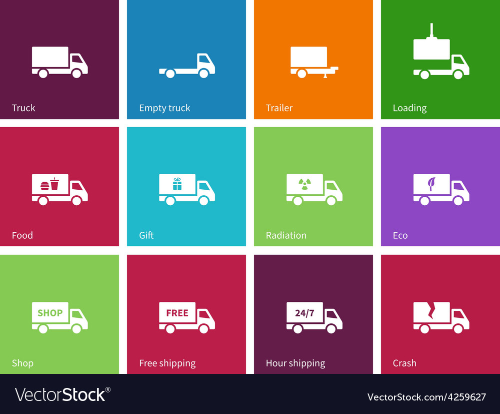 Delivery and truck icons on color background vector | Price: 1 Credit (USD $1)