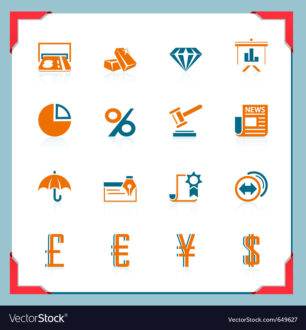 Financial icons in a frame series vector | Price: 1 Credit (USD $1)