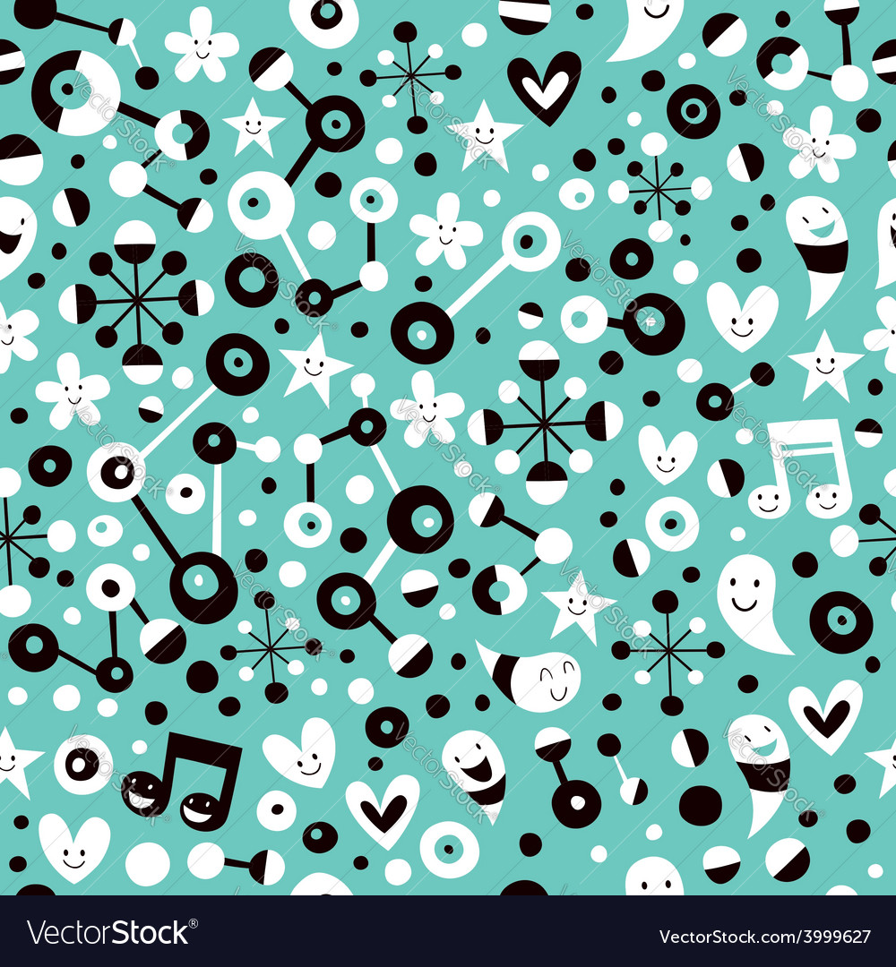 Fun cartoon turquoise blue pattern vector | Price: 1 Credit (USD $1)