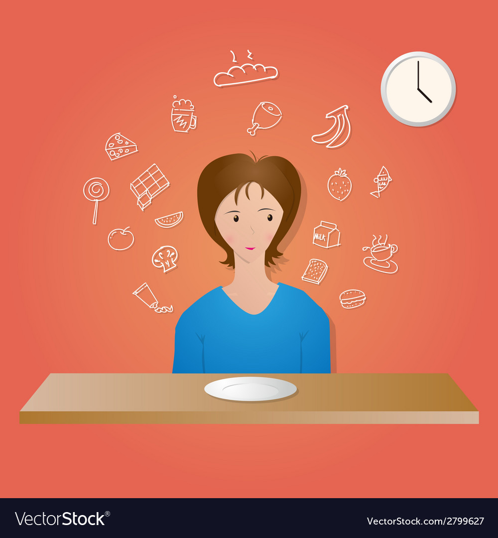 Girl and food vector | Price: 1 Credit (USD $1)