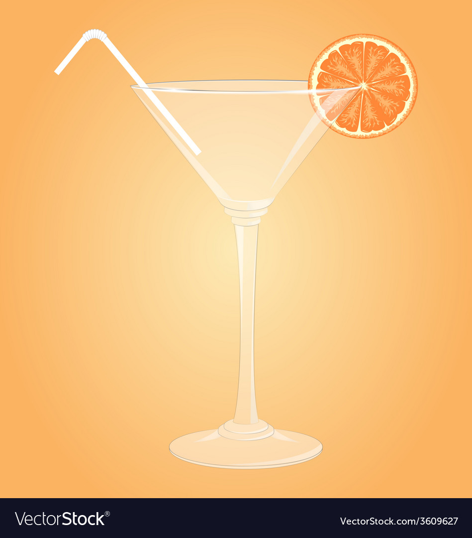 Glass for martini with orange and plastic tube vector | Price: 1 Credit (USD $1)