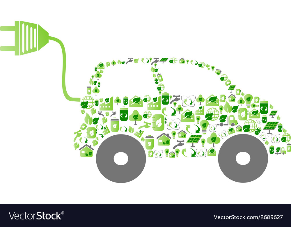 Green eco pattern icon car vector | Price: 1 Credit (USD $1)
