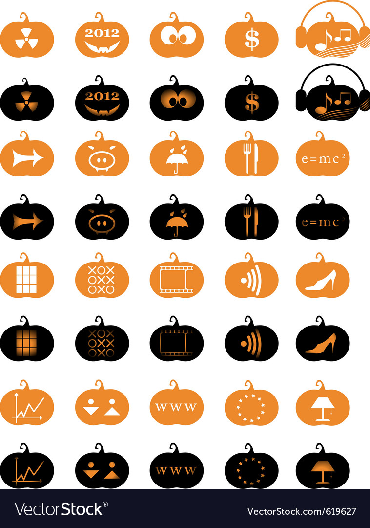 Halloween pumpkin icons vector | Price: 1 Credit (USD $1)