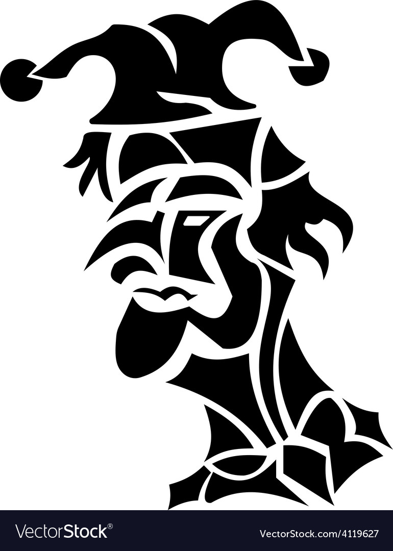 Harlequin tattoo turned to left vector | Price: 1 Credit (USD $1)