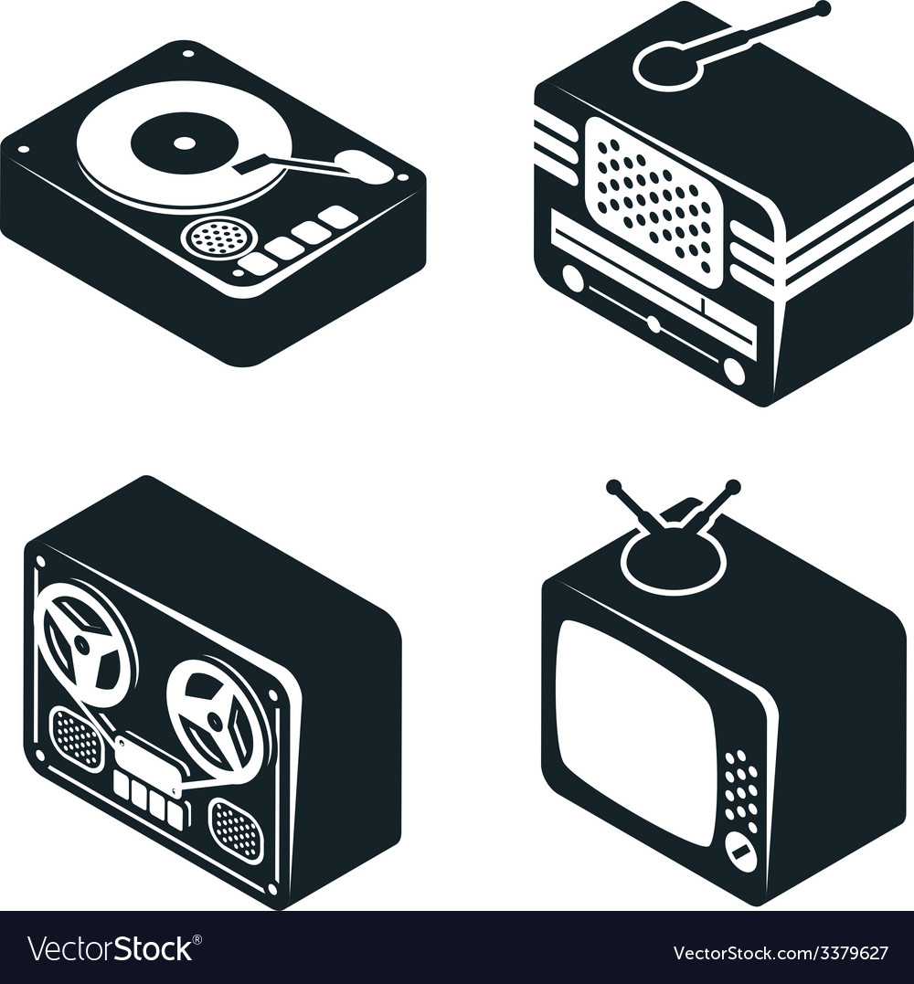 Isometric 3d icons of retro media devices vector | Price: 1 Credit (USD $1)