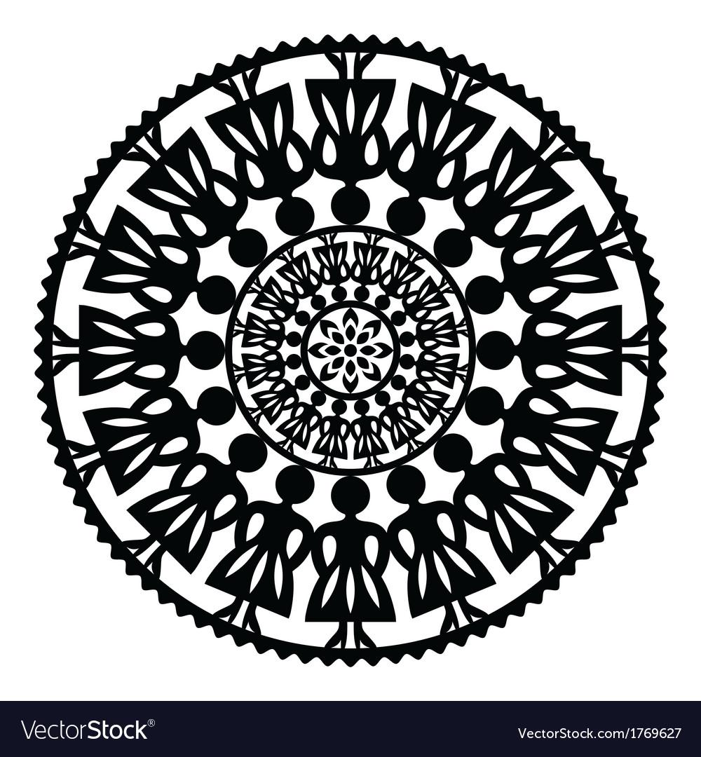 Polish traditional folk pattern in circle vector | Price: 1 Credit (USD $1)